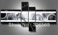 hand-painted Black to WhiteHigh Q. Home Decoration Modern Abstract Oil Painting on canvas 4pcs/set mixorde