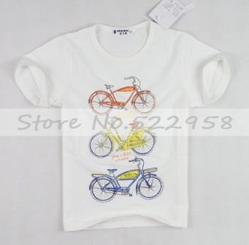 New Latest Design Children Kids Cartoon T Shirt Bike Short Sleeve Clothing Cotton Free Shipping#HC052