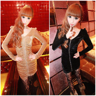 Charming little sexy velvet zipper pleated slim one-piece dress 2206 h318-2(China (Mainland))