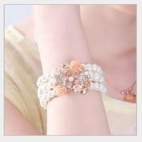 Fashion crystal melting four leaf flower multilayer pearl bracelet  Free shipping