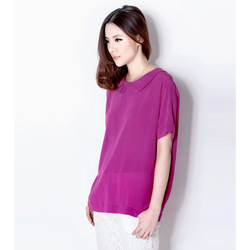 New arrival 2013 summer vintage metal zipper o-neck loose and comfortable silk shirt mulberry silk short-sleeve top female(China (Mainland))
