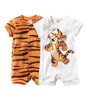 Infants Baby Summer Tigger One-Piece Romper Unisex Short Sleeve Onesie Children Romper Kids Cardigan Clothing Jumpsuits