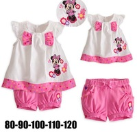 Free Shipping 5sets/lot Children's Cartoon set Baby Girl clothing set Summer Minnie T-shirt+short pants 2pcs set