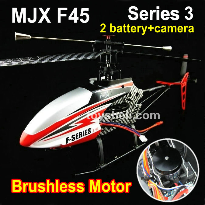 Free shipping hot sale MJX 2.4g 4ch remote control helicopter model MJX F45 with brushless motor -2 battries and camera(China (Mainland))