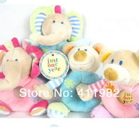 free shipping.12piece/lot Baby toys Animal model Hand bell Kid Plush toys Elephants, bears.Baby Rattles & Mobiles