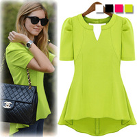2014 new short-sleeve women's fashion green chiffon blouse&shirt Candy color tops for women shirt lady's blouse