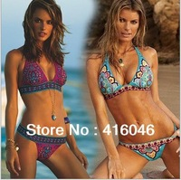 Sexy Victoria flavor Women Bikini Swimwear Swimsuit Beachwear Inside Pads printing Flower Red Blue Color M L XL Free shipping
