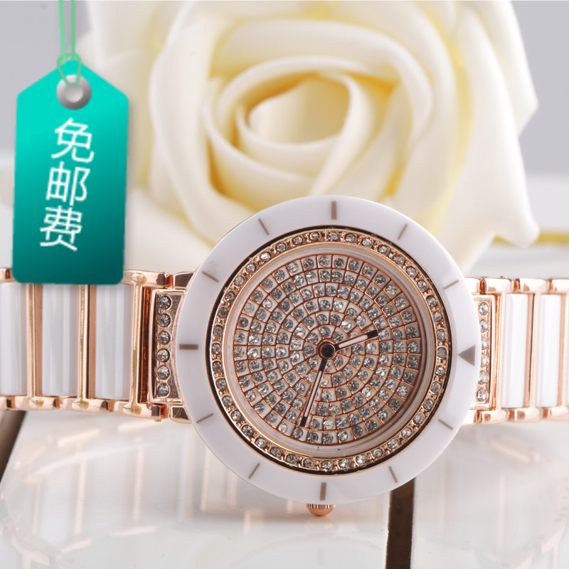 Brief classic women&#39;s watch ceramic watchband white collar rhinestone full rhinestone watch(China (Mainland))