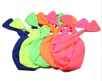 Free shipping wholesale cute fluorescence color bow tie hair bands bunny ear wire headband for women girls hair hoop hair wrap