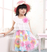 Free shipping wholesale  2013 baby girl summer chiffion print flower dress,  princess fashion cute dress