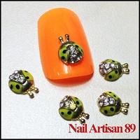 Alloy Green Ladybug  3D Jepanese Nails Salon Decorations 20psc/lot Size: 6*8mm #B297