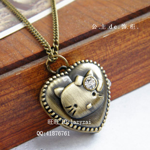 Min.Order is 10 USD!Intrusive heart-shaped KT cat head retro pocket watch long necklace / vintage jewelry wholesale(China (Mainland))
