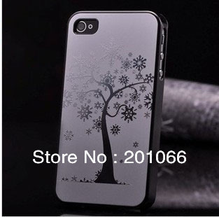 Free shipping+Wholesale Price+Aluminum Hard Case for iPhone 4 Case+3D Bling Protruded Carving Snow tree design+Retail Package(China (Mainland))