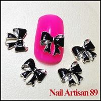Black 3D Bow Tie Nail Art Decoration Glitter Metal Alloy Nail Bows Boutique DIY Cell Phone Decor 20psc/lot Size: 10*9mm #B189