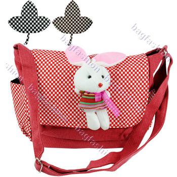 Female small bags Fashion Canvas Cartoon Pendant Handbag Shoulder cross-body Bag for women girls 13615