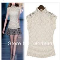 Elegant Slim Women Girls Sheer Lace Top Blouse Shirt Stand Collar Zipper Back     free shopping