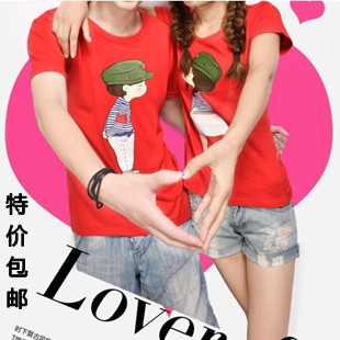 2013 summer short-sleeve slim brief lovers male women's card case basic T-shirt pattern(China (Mainland))