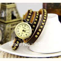 Enmex classic genuine leather long watchband spirally-wound lady punk vintage table bronze color watch rivet watchband