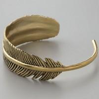 Free Shipping Fashion Vintage Gold Feather Cuff Bracelet Women BMB002 Magi Jewelry