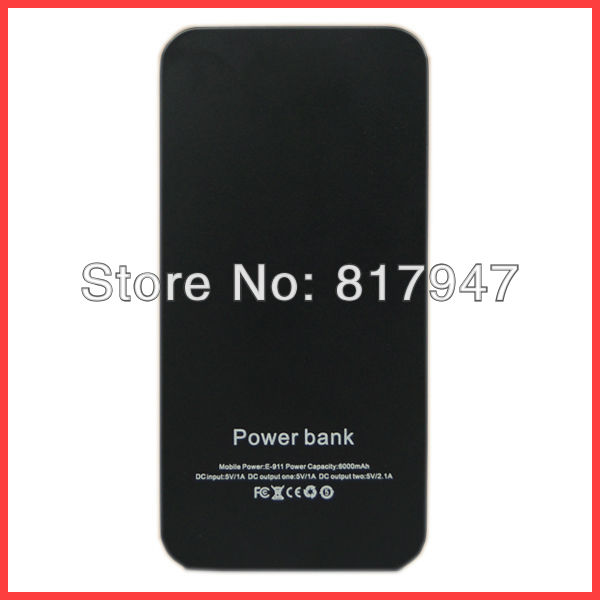 50pc/lot Free Shipping 2 USB Port 6000mAh Power Bank Portable Charger External Battery Pack for iPhone 5 iPad, Samsung Galaxy S3(China (Mainland))