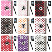 Cute Dot Spot 360 Rotating Magnetic Folio Leather Case Smart Cover For iPad 4 4th 3/2 New iPad w/ Stylus Pen + Screen Protector