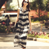 Free shipping new 2014 bohemia chiffon dress white black stripe long dress women's fashion summer beach dress    tp320