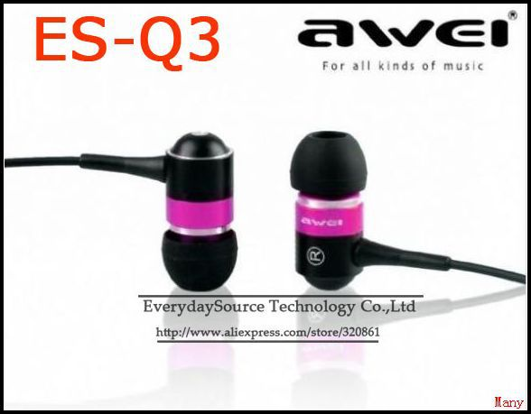 IN EAR Earphone for iPhone 4 4S 3 3GS 4G ipod touch awei ES-Q3 &amp; 4colors in stock CN Free shipping(China (Mainland))