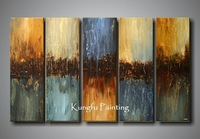 100% hand painted discount 5 panel oil painting abstract canvas group paintings home decor free shipping