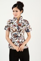 "white New Chinese Women's Cotton Shirt Blouses blue flower S M L XL XXL 3XL "" WNSshirt-08 """