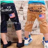 Whloesale 2013 korean fashion 5pcs/lot kids american flag shorts baby girls boys trousers children clothing spring summer shorts