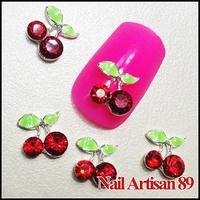 20psc/lot 3D Cherry Nail Art Red Rhinestones Diamond Alloy Nail Art Decoration DIY Craft Jewelry For Nails Size: 9*8mm #B205