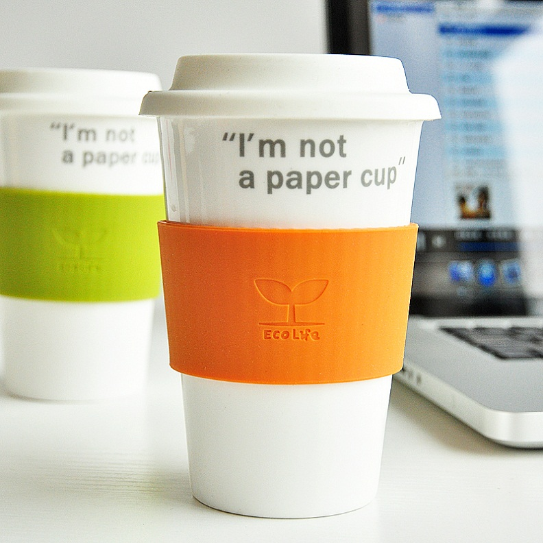 Home paper cups brief anti-hot mug coffee cup with lid ceramic cup(China (Mainland))