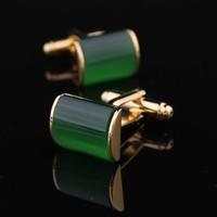 Gold jade green cat-eye cufflinks nail sleeve male cuff cufflinks male cufflinks star cufflinks