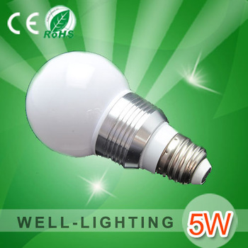5W led light bulbs wholesale E27,Frosed or Clear PC Cover,AC85-265V,DC12V,Globe or Golf shape