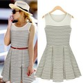 Fashion women's 2013 stripe tank dress expansion bottom slim waist o-neck sleeveless one-piece dress