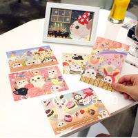 Free Shipping(12sets/lot), New 6pcs/set sweet cute cat postcard/ greeting card/ wholesale, 6 series mix, UK118