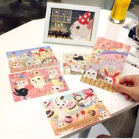 New arrived(12sets/lot), New 6pcs/set sweet cute cat postcard/ greeting card/ wholesale, 6 series mix, UK118