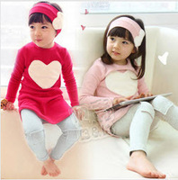 5sets/lot baby girls loving heart suit t-shirt leggings headband 3pcs clothing set children spring wear ZZ0039