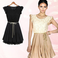 2013 summer fashion slim waist lace skirt plus size clothing chiffon one-piece dress