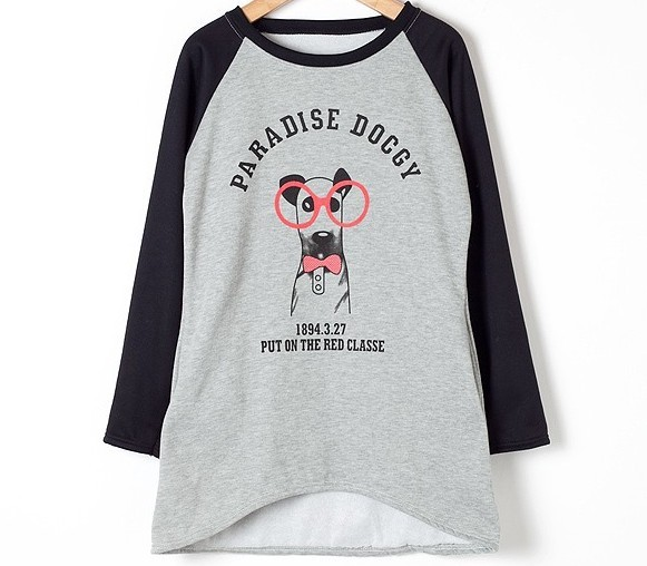 New Products 2013 women&#39;s t-shirt dog pattern long-sleeve sweatshirt medium-long fleece sweatshirt(China (Mainland))