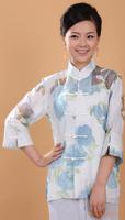 "Blue New Chinese Women's Cotton Linen Shirt Blouses jacket flower S M L XL XXL 3XL  "" WNSBlouses-50 """
