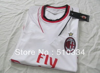 Authentic Quality!!!13/14 AC Milan Away White Soccer Shirt,Thailand Quality Football Jersey+AC Milan Embroidery logo Shirt