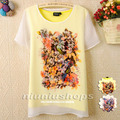 J 2013 sweet women's o-neck double layer faux two piece print short-sleeve chiffon shirt