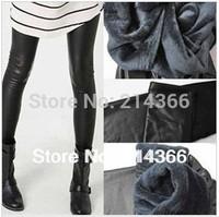Autumn And Winter Female PU Patchwork Faux Leather Ankle Length Velvet Trousers Long Plus Size Solid Color Women Leggings Pants