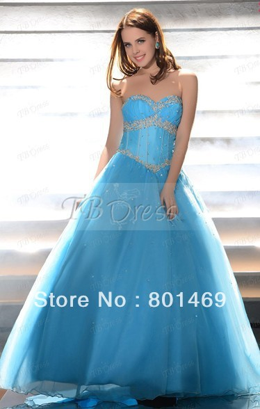 Exceptional 2013 Light Sky Blue Prom Dresses A-Line Sweetheart Beads Applique Ruched Organza Sweep Train Graduation Gown(China (Mainland))