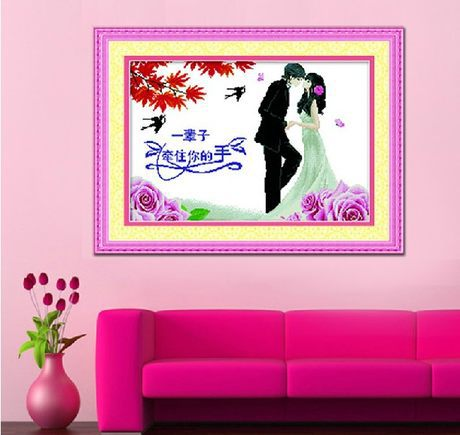 Free Shipping Good day marriage romance Love style cross stitch kit married Handmade needlework(China (Mainland))