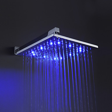 Free shipping 100% brass 10 inch LED top shower temperature sensing 3 colors(blue,green,red) shower headB-121200(China (Mainland))