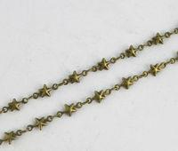 FREE SHIPPING 1 Meter of Antiqued bronze Starfish link handmade chain #22912