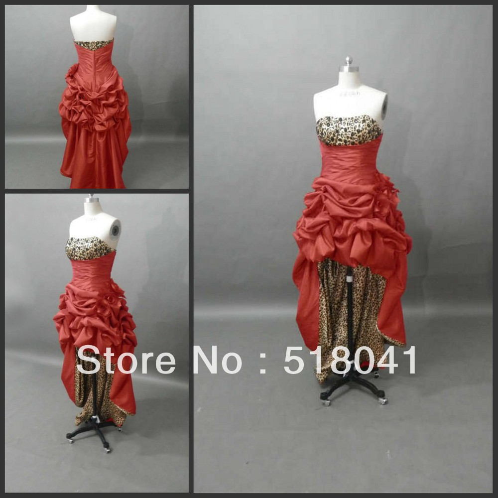Free shipping! Front Short And Long Back Strapless Red Satin Prom Dress 2013 cpd-011(China (Mainland))