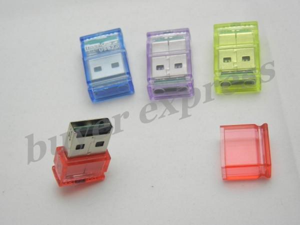 Cheap Price ! 300PCS crystal cube Card Reader usb2.0 interface transflash compatible TF SD Memory card free shipping(China (Mainland))